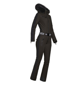 Goldbergh - EMPRESS JUMPSUIT REAL FOX FUR | BLACK